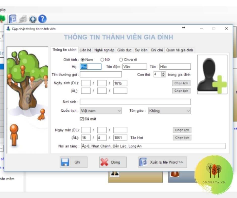 phần mềm quản lý gia phả akb